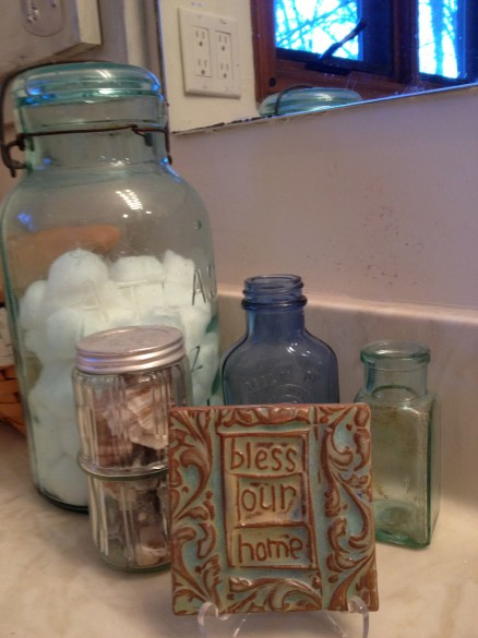 My bathroom counter with my collection of some of my favorite bottles....
